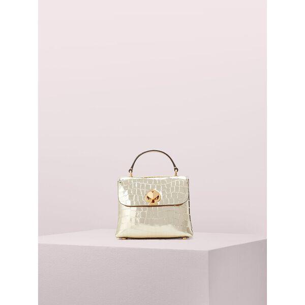 romy metallic croc-embossed mini top handle bag