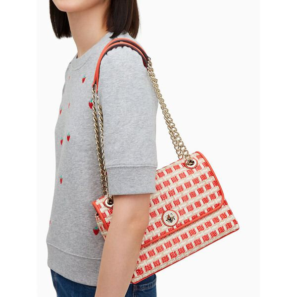 natalia straw medium flap shoulder bag, multi, hi-res