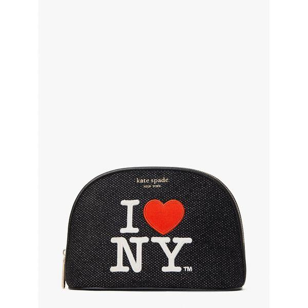 i heart ny x kate spade new york large dome cosmetic case, black multi, hi-res