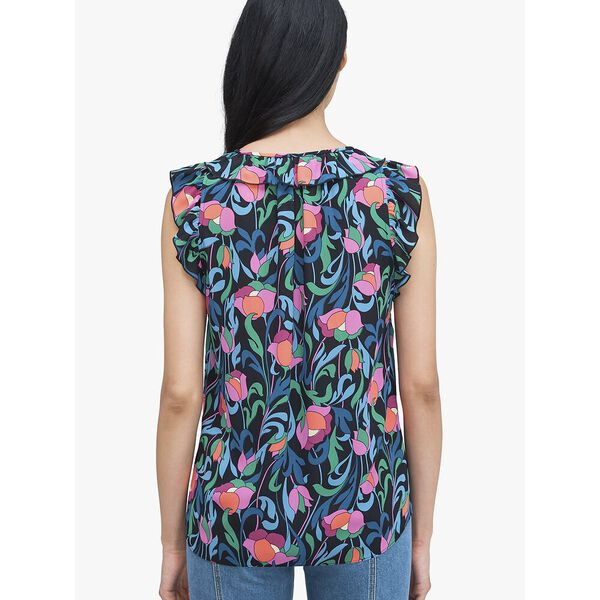 floral swirl shell top, Black, hi-res