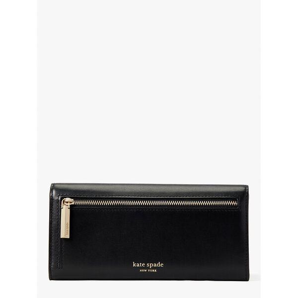 lovitt flap continental wallet, black, hi-res