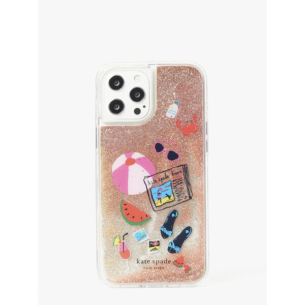 pool party liquid glitter iphone 12 pro max case, multi, hi-res