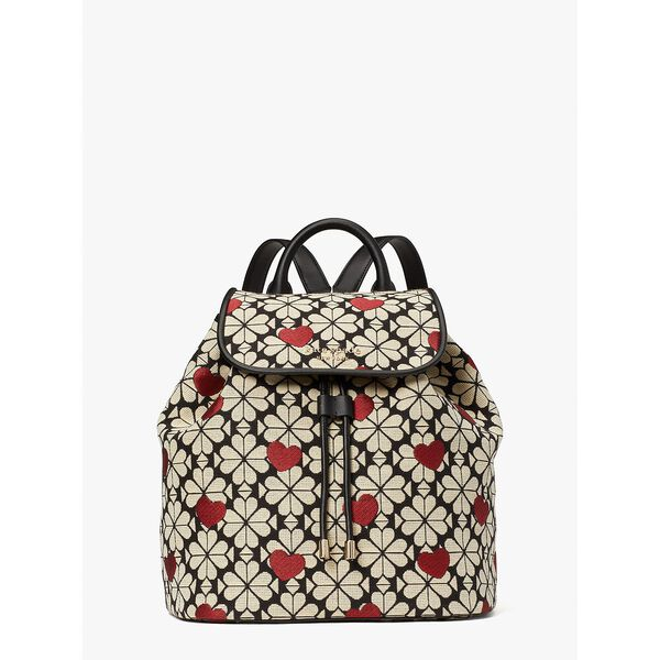 spade flower jacquard hearts medium flap backpack