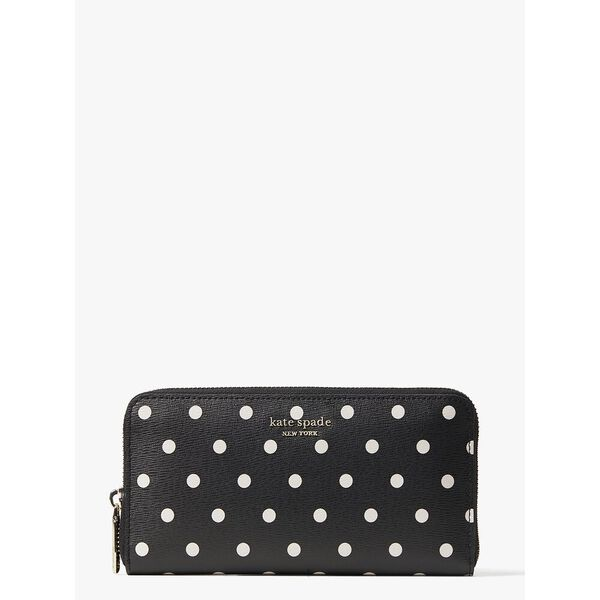 spencer cabana dot zip-around continental wallet, black multi, hi-res