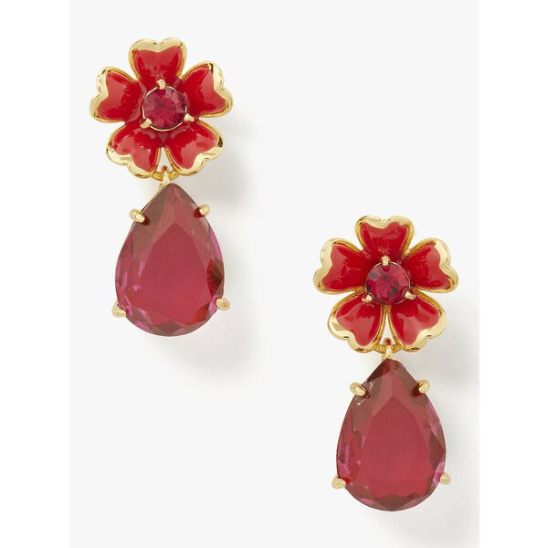 blushing blooms flower drop earrings, LACQUERRED, hi-res