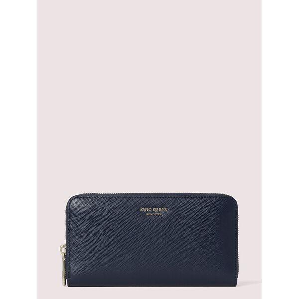 spencer zip-around continental wallet, blue, hi-res