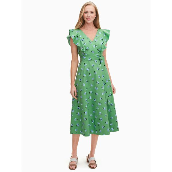 tea garden toss poplin midi dress, banana leaf, hi-res