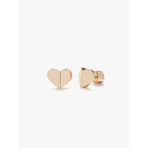 heritage spade small heart studs, rose gold, hi-res