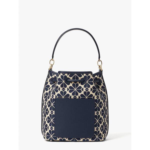 spade flower jacquard stripe medium bucket bag, blue multi, hi-res