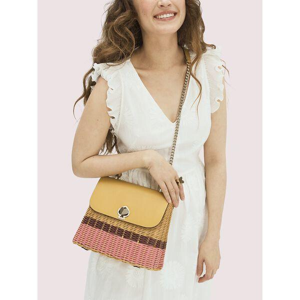 romy wicker medium top-handle bag, golden curry, hi-res