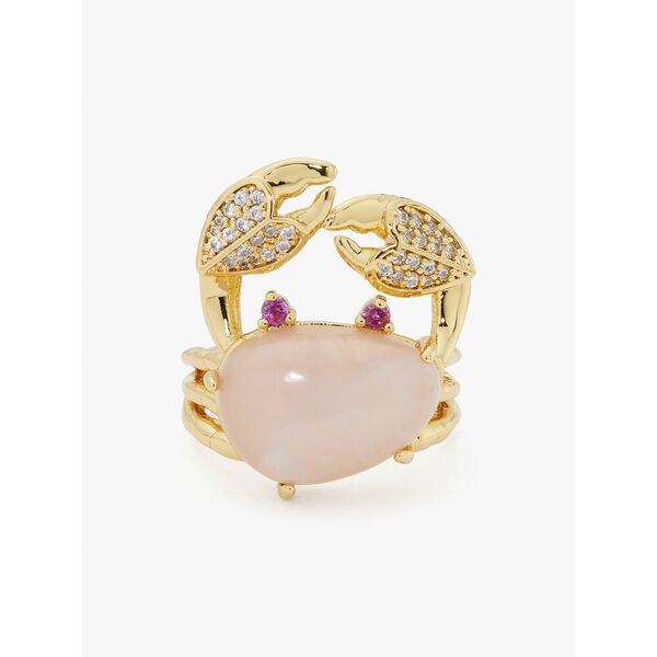 sea star crab statement ring, pink, hi-res