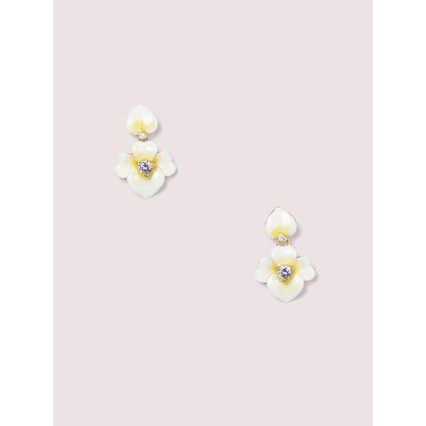 precious pansy drop earrings