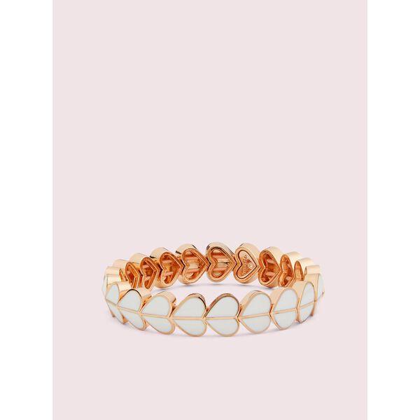 heritage spade enamel heart stretch bracelet, white, hi-res