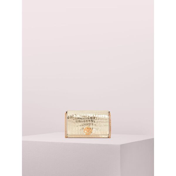 romy metallic croc-embossed chain wallet, gold, hi-res