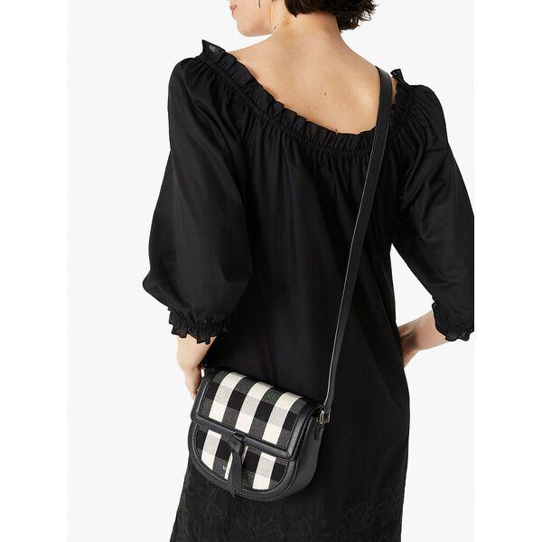 knott gingham medium saddle bag, black multi, hi-res