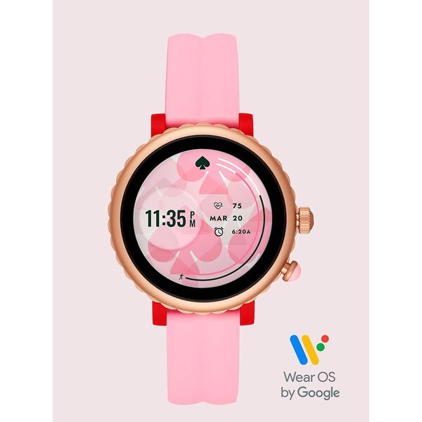 kate spade new york pink silicone sport smartwatch featuring contactless payment, pink, hi-res
