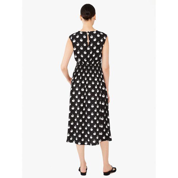 apple toss smocked-waist dress, black, hi-res