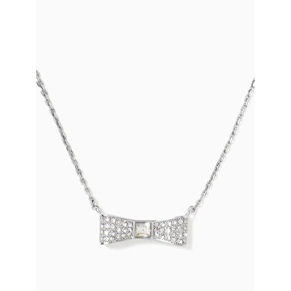 ready set bow pave bow mini pendant, CLEAR/SILVER, hi-res