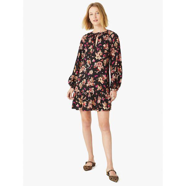 floral bouquet shift dress, black, hi-res