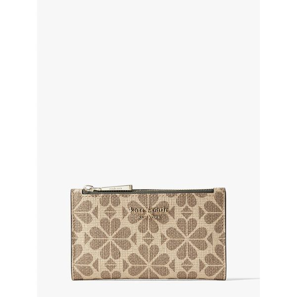 spade flower coated canvas small slim bifold wallet, NATURAL MULTI, hi-res