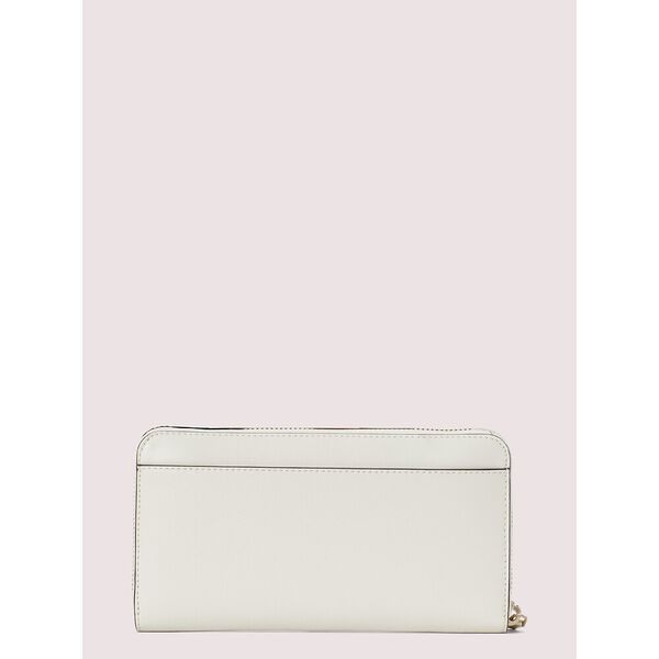 spencer spade clover butterfly zip-around continental wallet, parchment multi, hi-res