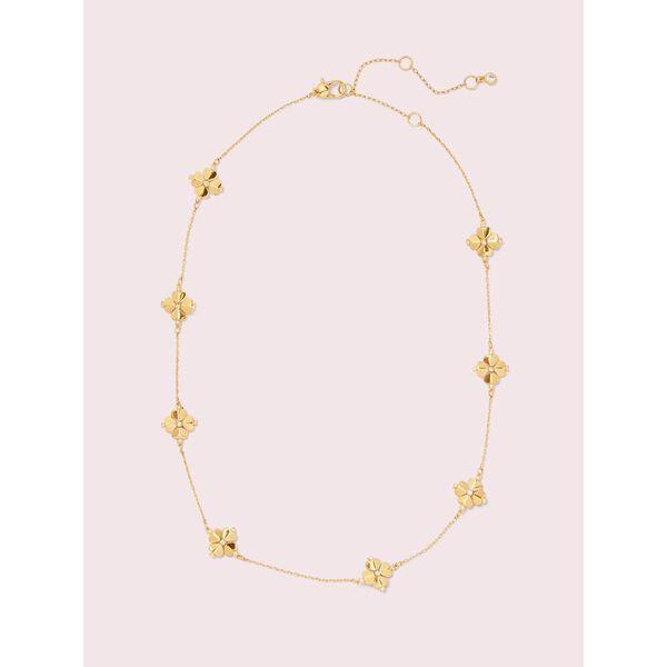 legacy logo spade flower necklace, clear/gold, hi-res