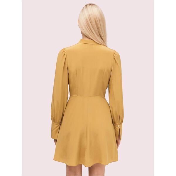 silk point collar shirtdress, golden raisin, hi-res