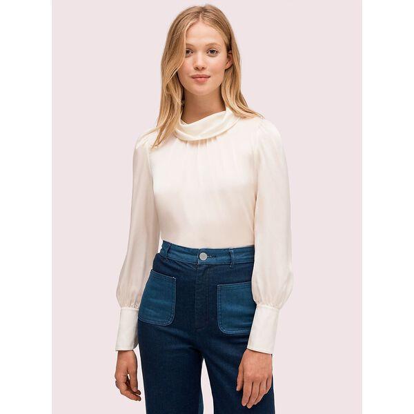 silk charmeuse blouse, cream, hi-res