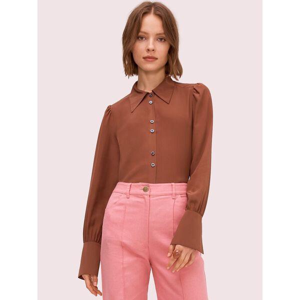 silk point collar blouse