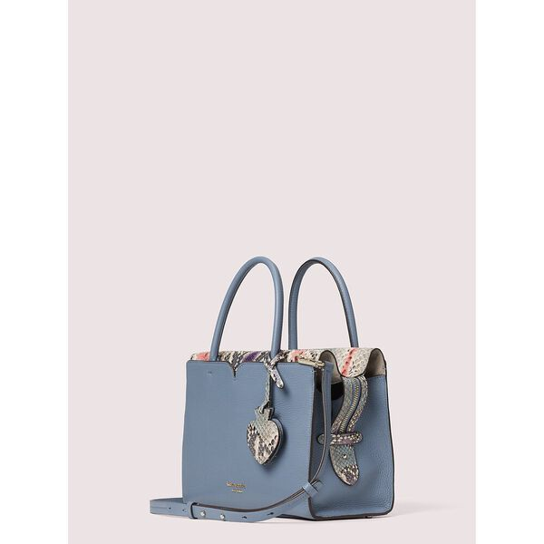 spencer snake-embossed medium satchel, swordfish, hi-res