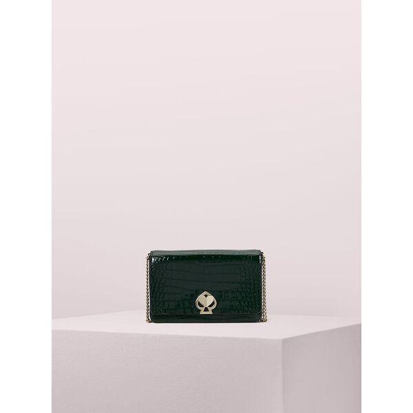 romy croc-embossed chain wallet