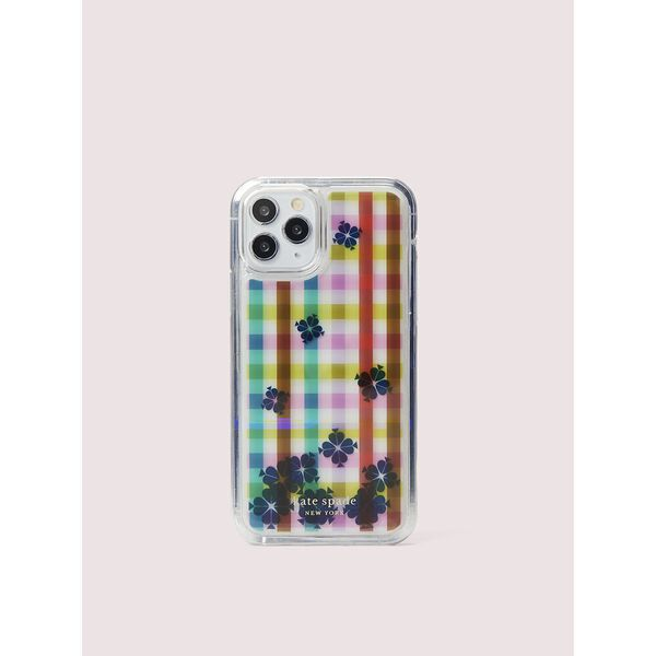 bella plaid liquid iphone 11 pro case, clear multi, hi-res