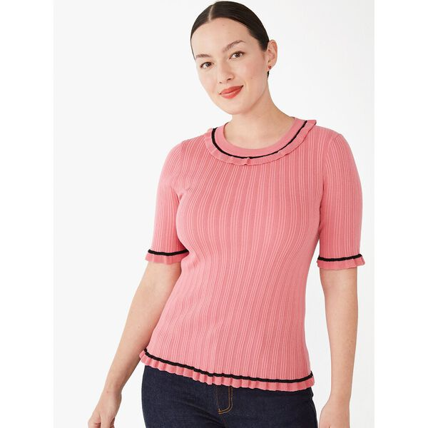 ruffle short-sleeve sweater, orchid, hi-res