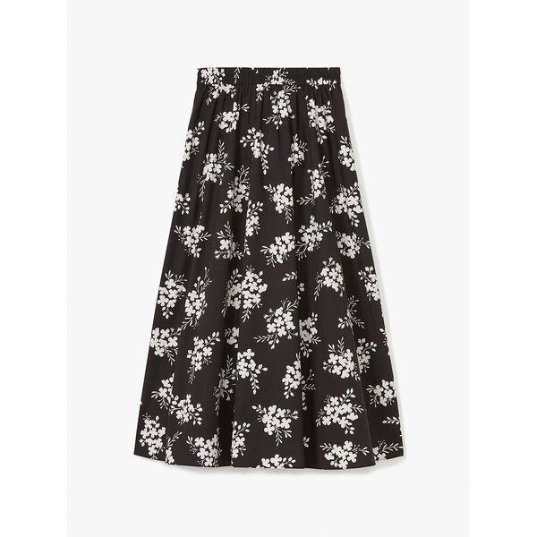 floral clusters poplin skirt, black, hi-res