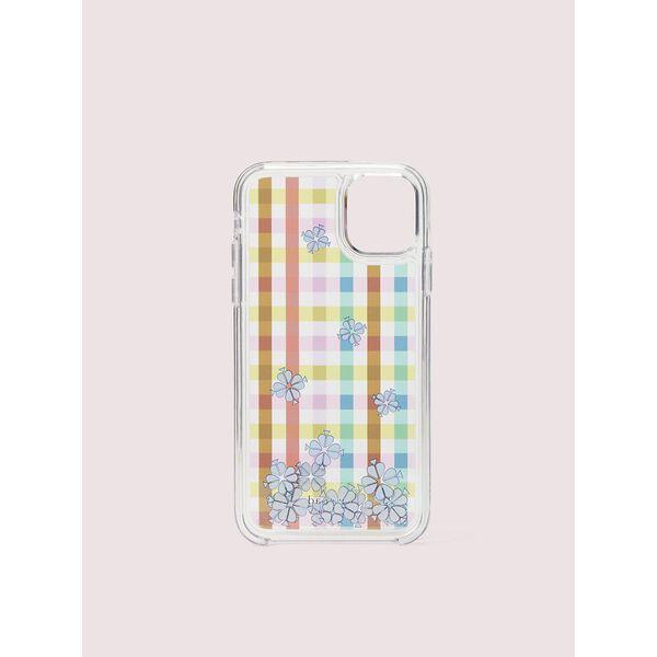 bella plaid liquid iphone 11 case, clear multi, hi-res