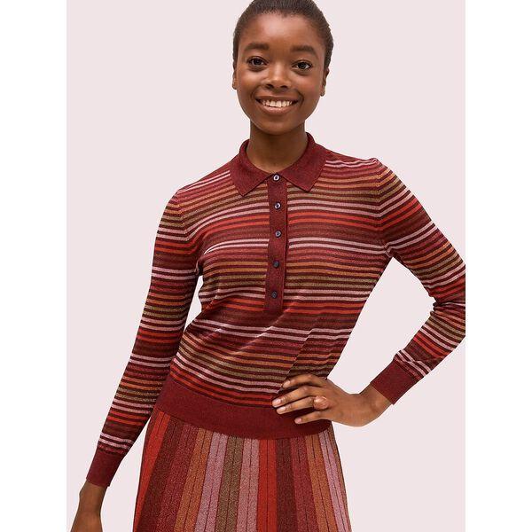 metallic stripe polo sweater