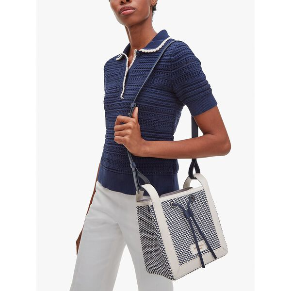 grab fabric small bucket bag, blazer blue multi, hi-res