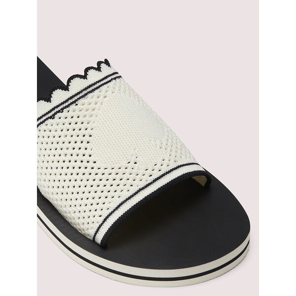 festival slide sandals, black/white, hi-res