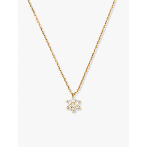 myosotis flower mini pendant, clear/gold, hi-res
