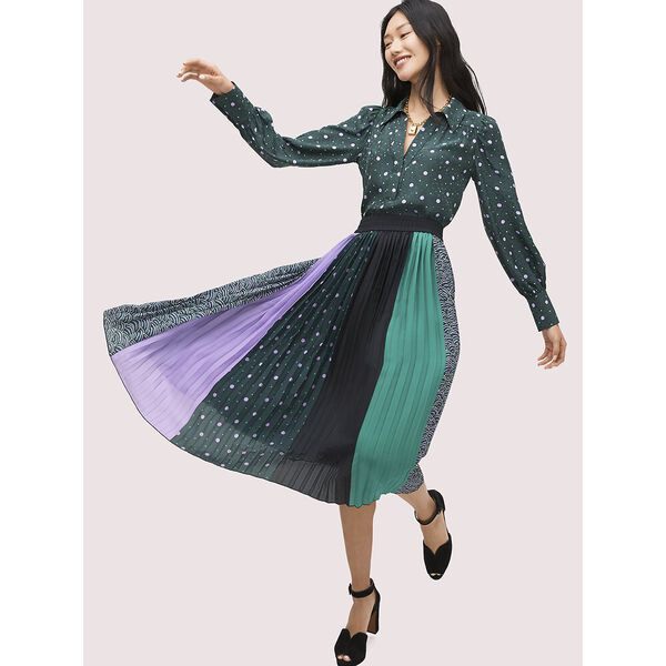 pop dots print mix skirt, black, hi-res