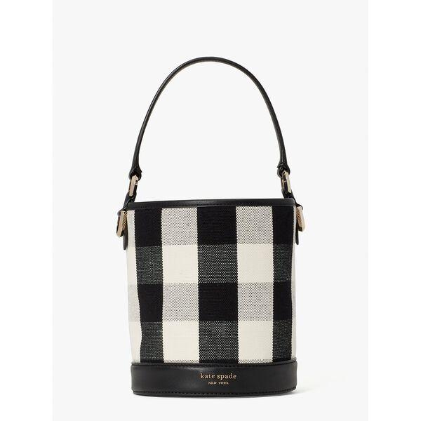 picnic gingham small bucket bag, black multi, hi-res