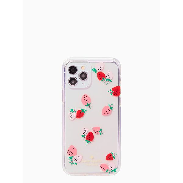 strawberry with gems iphone 12/12 pro case, clear, hi-res