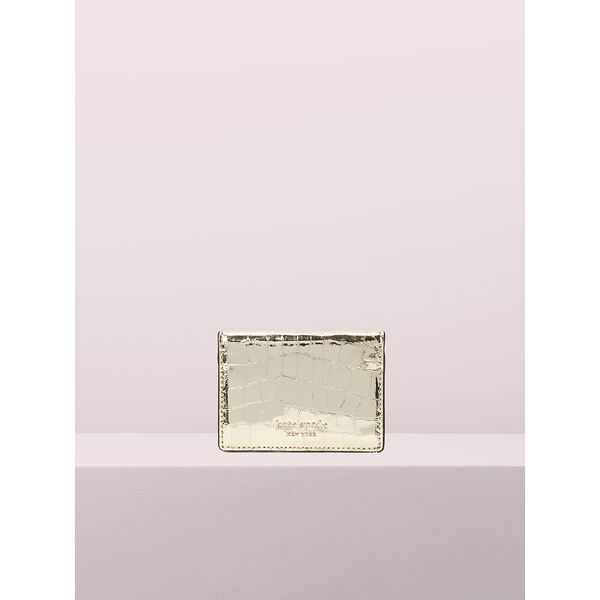 sylvia croc embossed mirror card case