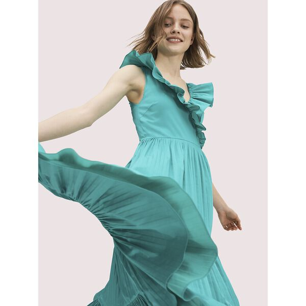 poplin ruffle tiered dress, fiji green, hi-res