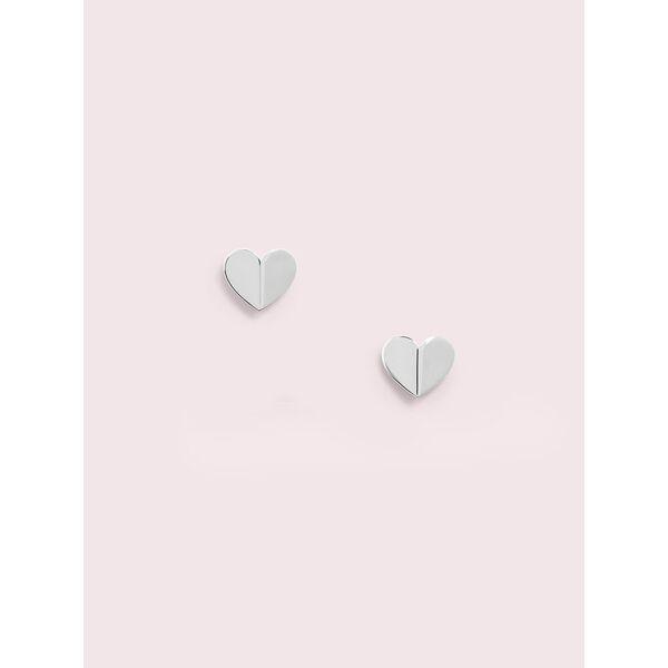 heritage spade heart statement studs, silver, hi-res