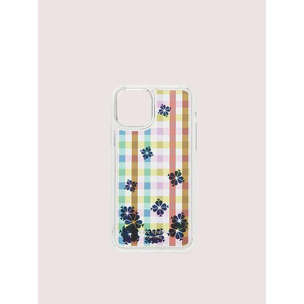 bella plaid liquid iphone 11 pro case, clear multi, hi-res