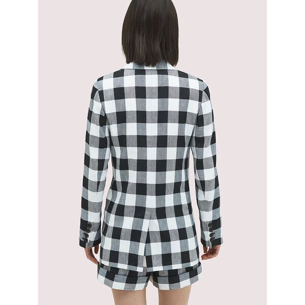 gingham blazer, BLACK, hi-res