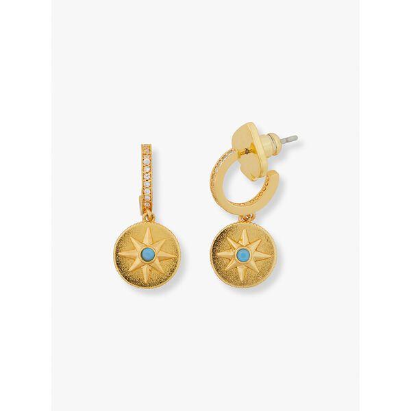 my medallion pavé huggies, clear/gold, hi-res