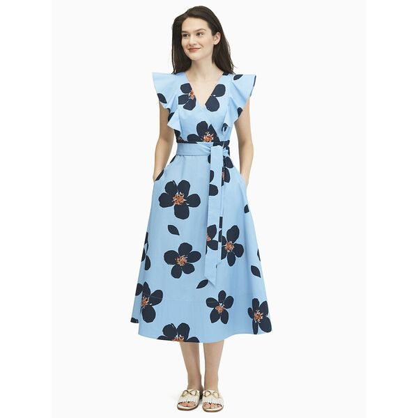 mainline grand flora poplin midi dress