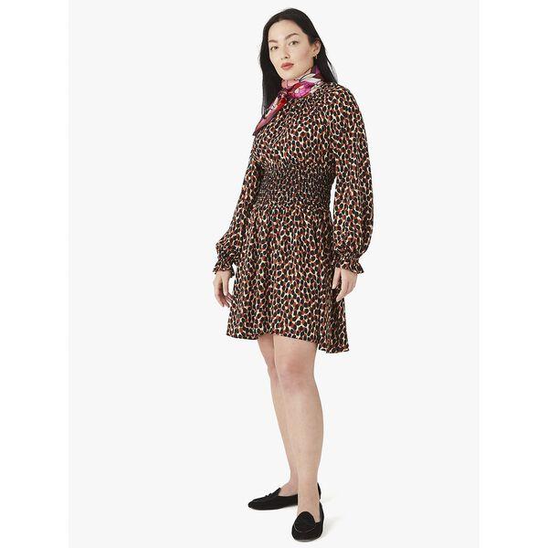 dotty leopard spin dress, silt, hi-res
